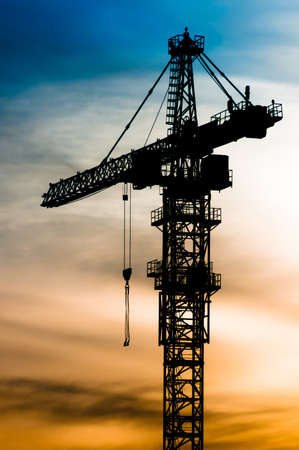 Top part of crane silhouette at the sunset time