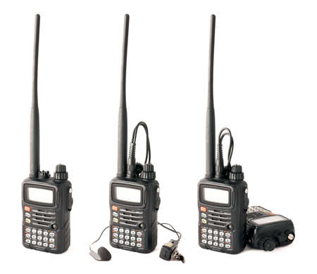 Isolated pro walkie-talkie in three different compositions on white