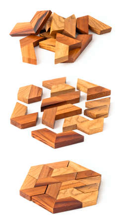 Wooden hexahedron puzzle, from start to end building