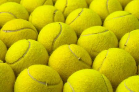 Yellow pattern, made with tennis balls, placed in rows