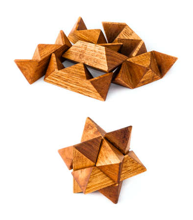 Rhombic dodecahedron wooden puzzle, isolated on white, from start to end
