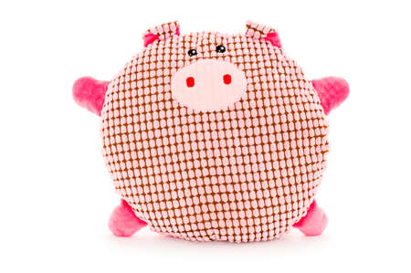 Funny hand made plush toy - pink, cute, meshed and rounded pig Stock Photo