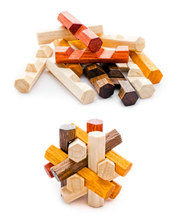order chaos: Wooden geometric puzzle made from many pieces with six grains