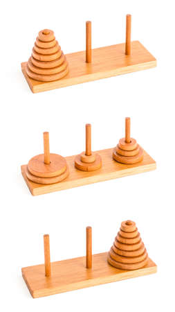 The tower of hanoi puzzle isolated on white background Stock Photo