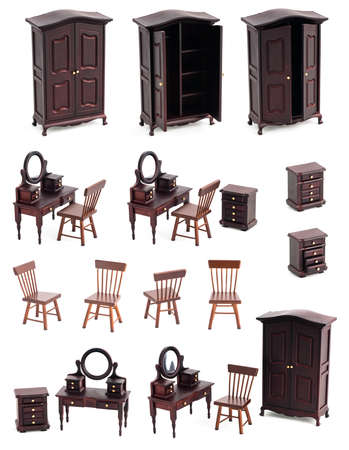 Dressing room isolated with shadows, wooden and vintage furniture toys Stock Photo