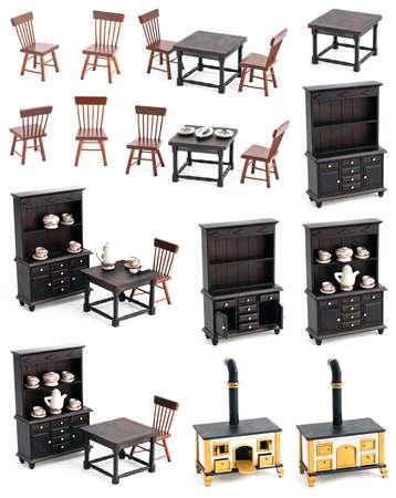 Küche Mit Schatten, Holz-und Vintage-Möbel Spielzeug Isoliert ...