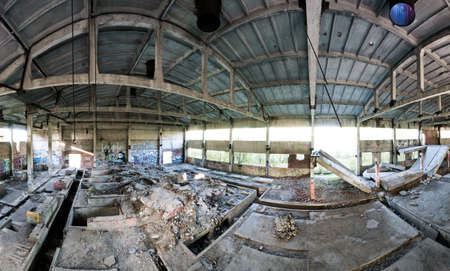 Abandoned factory panoramic interior at day time, view from second flour Stock Photo - 13697983