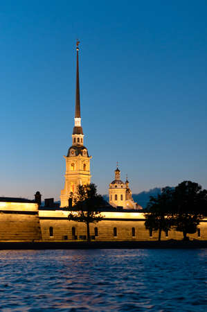 Peter and Paul fortress vertical view from Neva river in Russia
