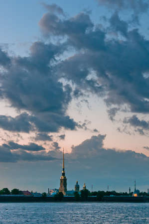 Peter and Paul fortress with beautiful cloudscape on background in Russia