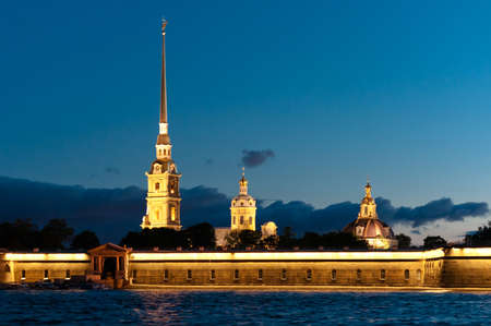 Peter and Paul fortress horizontal view from Neva river in Russia