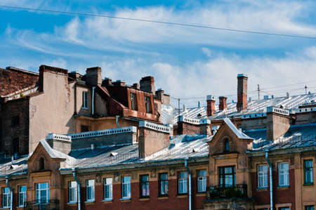 Roof of an old and obsolete building in Saint-Petersburg, Russia Stock Photo