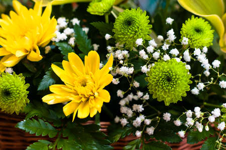 Chrysanthemum and some other flowers bright and colorful bouquet Stock Photo