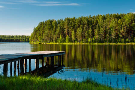 old pier: Wooden pier and forest on lake beautiful and colorful scene