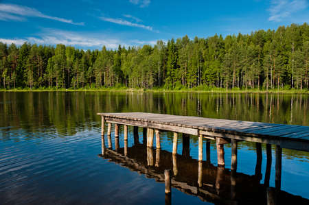 Wooden and old pier with forest scene, horizontal view