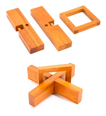 Wooden cross puzzle isolated on white in few different views