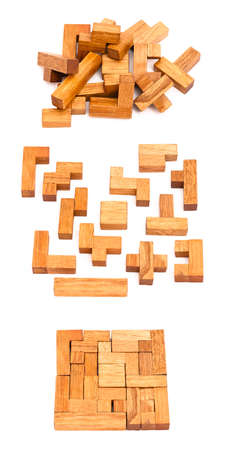 Wooden pentamino isolated on white in few different views