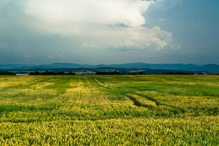 Beautiful rural view of cultivated valley with cloudscape on blue sky Stock Photo