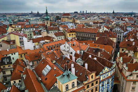 Prague vintage and brick roofs at high point of view