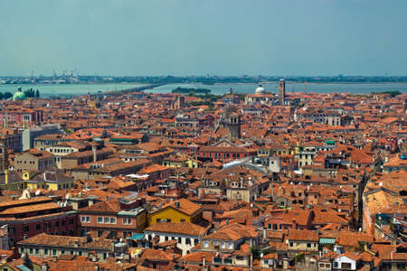 Venice vintage and brick roofs from high point of view Stock Photo