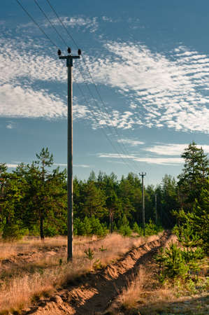 Power lines support at forest outskirts with beautiful cloudscape Stock Photo