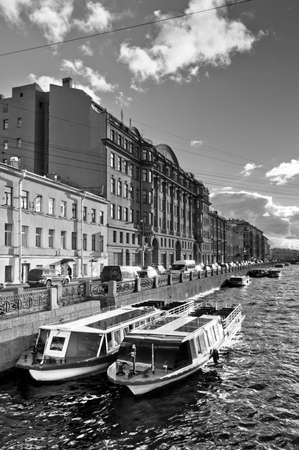 Boats parking in city channel, vintage style Stock Photo