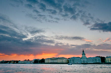 Cityscape is beautiful at dusk in Saint-Petersburg, Russia