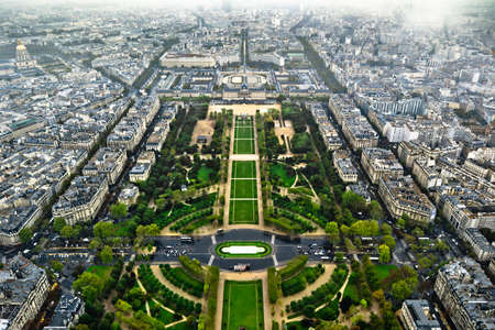 Paris center aerial view at day time, wide angle of view Stock Photo