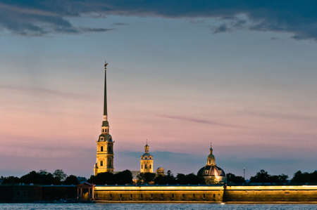 Peter and Paul fortress at twilight, beautiful and bright cityscape Stock Photo