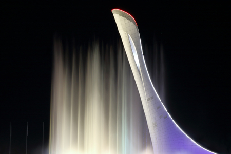 SOCHI, RUSSIA - September, 28, 2016. Fountain in the Olympic park in the night. The main symbol of the Olympic Games of 2014 in Sochi
