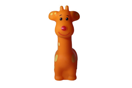 Toy rubber giraffe. Isolated on white background. Stock Photo