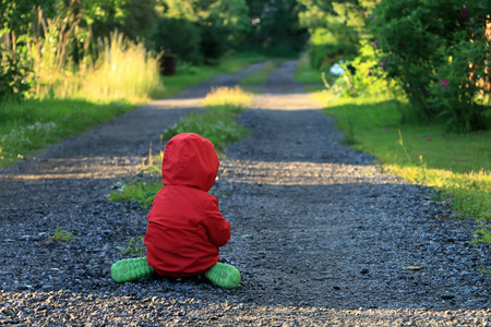 lonely little child crying and sad about on the way Stock Photo