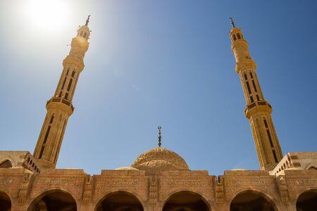 Al-Mustafa Mosque in Sharm El Sheikh. Minaret against the sky