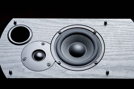black speaker with bass and treble speakers