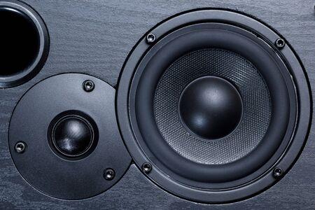black speaker with bass and treble speakers Foto de archivo