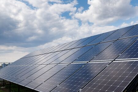close-up view of solar panels on a background of blue sky Standard-Bild