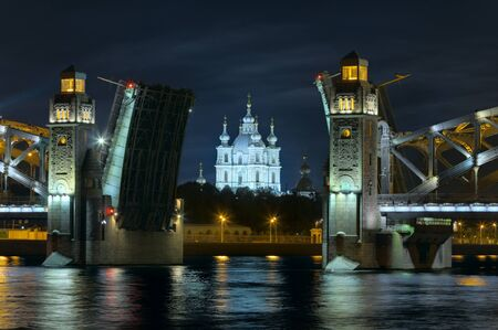 peter the great: Smolny Cathedral, Peter the Great bridge in Saint Petersburg, Russia Stock Photo