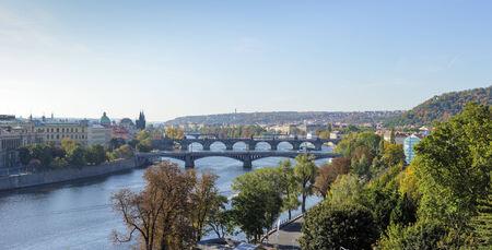vltava: View of bridges on Vltava river, Prague, Czech Republic Stock Photo