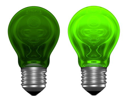 Green light bulbs with weird reflections isolated on white, one bulb is glowing, another is not photo