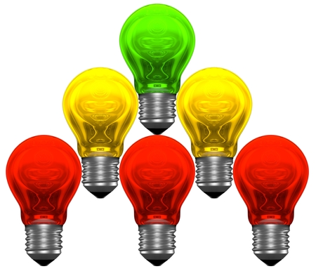 experimenting: Pyramid of red, yellow and green light bulbs  Brainstorming, search or experimenting concept