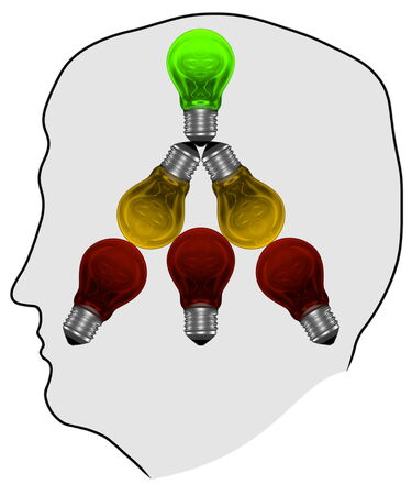 experimenting: Silhouette with red, yellow and green light bulbs in mind  Brainstorming, search or experimenting concept