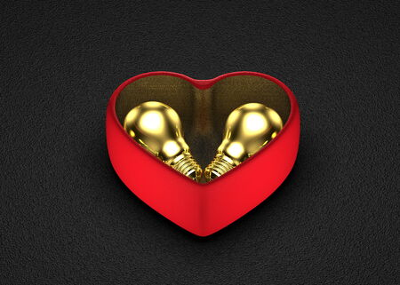 saint valentine   s day: Golden ideas for present in Saint Valentine s Day  Golden light bulbs in red heart-shaped box on dark background Stock Photo