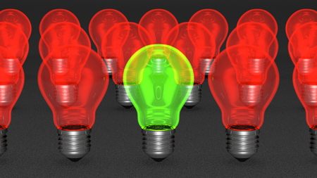 One green light bulb among many red ones  The only good idea concept, uniqueness concept photo