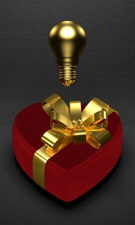 saint valentine   s day: Golden idea for present in Saint Valentine s Day s  Golden light bulb above red heart-shaped box on dark background
