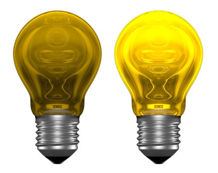 unreliable: Yellow light bulbs with weird reflections isolated on white, one bulb is glowing, another is not Stock Photo