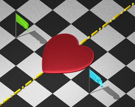 transcend: Red reflective heart on checkered textured surface with yellow divisional line and green and blue flags Stock Photo