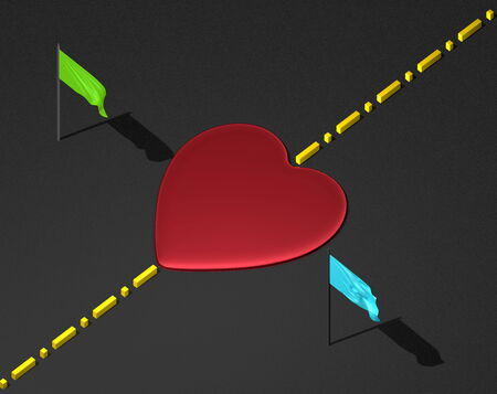 transcend: Red reflective heart on black textured surface with yellow boundary line and green and blue flags Stock Photo