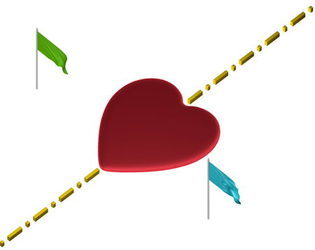 consolidation: Red reflective heart with yellow boundary line and green and blue flags isolated on white