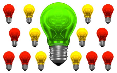 bad idea: One good idea, lots of bad ideas  One green and many red and yellow light bulbs with weird reflections Stock Photo