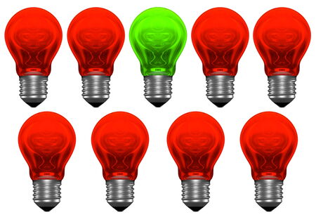 bad idea: Only one good idea and many bad ones  One green and many red light bulbs with weird reflections Stock Photo