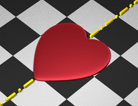 transcend: Red reflective heart on checkered textured surface with yellow divisional line